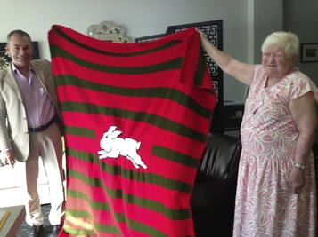 Rabbitoh's blanket knitted by legally blind patient with severe could-cutaneous albinism . . .